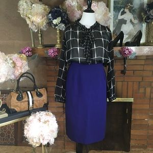 WHO WHAT WEAR BLOUSE; MAGGIE MCNAUGHTON SKIRT